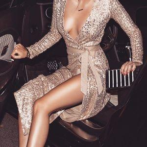 JLUXLABEL Gold Sequin Maxi Wrap Dress/Cardigan